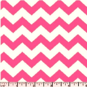 Chevrons Half Inch Pink Chevron on White Cotton Fabric