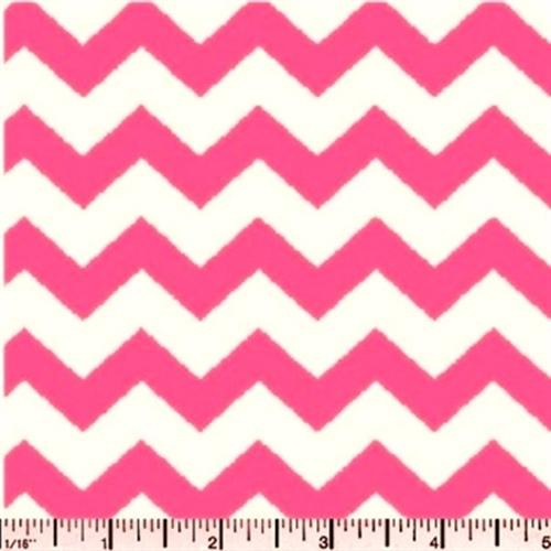 Chevrons Half Inch Pink Chevron on White Cotton Fabric