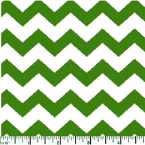Chevrons Half Inch Kelly Green Chevron on White Cotton Fabric