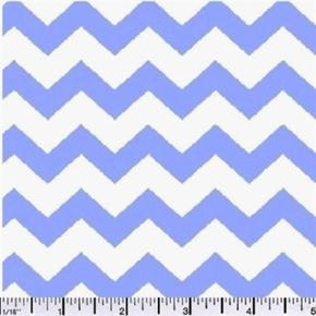 Chevrons Half Inch Sky Blue Chevron on White Cotton Fabric