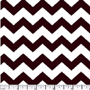 Chevrons Half Inch Brown Chevron on White Cotton Fabric