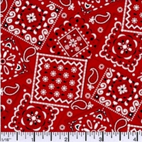 Blazin Bandanas Red Bandana Pattern Cotton Fabric