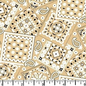 Blazin Bandanas Khaki Bandana Pattern Cotton Fabric