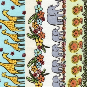 Picture of Safari Crush Elephant, Giraffe and Lion Families Stripe Cotton Fabric