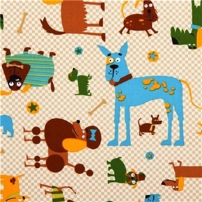 Picture of Whiskers and Tails Cute Dogs on Checkered Cotton Fabric
