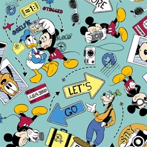 Disney Lets Go Explore Mickey Mouse Donald Goofy Pluto Cotton Fabric