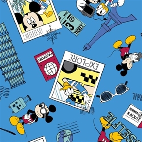 Picture of Disney Mickey Selfie Travel Photos with Donald Duck Cotton Fabric