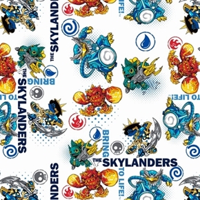 Skylanders Video Game Characters Bring To Life White Cotton Fabric