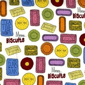 Metro Cafe Tea Biscuits Shortbread Cookies White Cotton Fabric