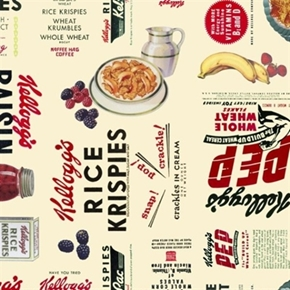 Picture of Kellogg's Cereal and Fruit Advertisements Cotton Fabric