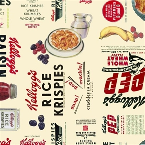 Kellogg's Cereal and Fruit Advertisements Cotton Fabric
