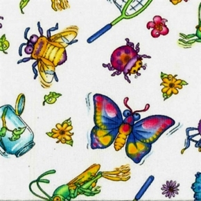 Picture of Bugzy Large Bugs and Bug Collecting White Cotton Fabric