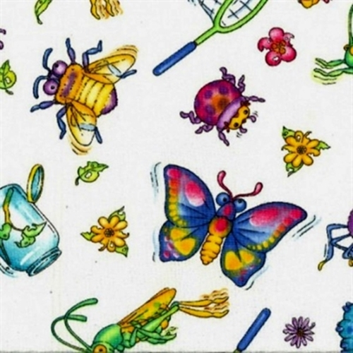 Bugzy Large Bugs And Bug Collecting White Cotton Fabric