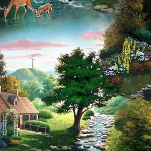 For God So Loved The World Scenic Religious Cotton Fabric