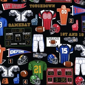 The Whole Nine Yards Football Helmet Jersey Pads Black Cotton Fabric