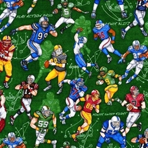 Picture of The Whole Nine Yards Football Players Plays on Green Cotton Fabric