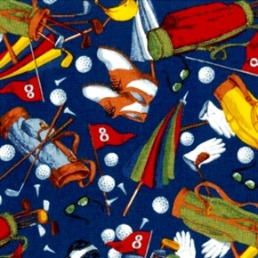 Art Of Golf Golfing Equipment Toss Blue Cotton Fabric
