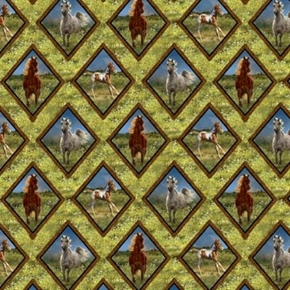 Wild Wings Camden Yard Diamond Braid Horses in Grass Cotton Fabric