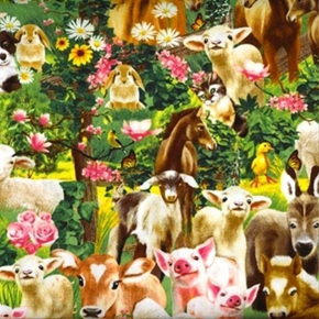 Picture of Farm Animals Baby Animals Pig Goat Dog Horse Cat Rabbit Cotton Fabric