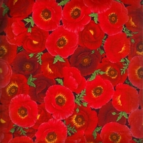 Picture of Poppy Grove Red Poppies Flower Cotton Fabric
