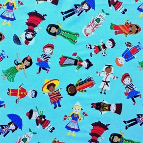 Picture of Children in Cultural Outfits From Around the World Blue Cotton Fabric