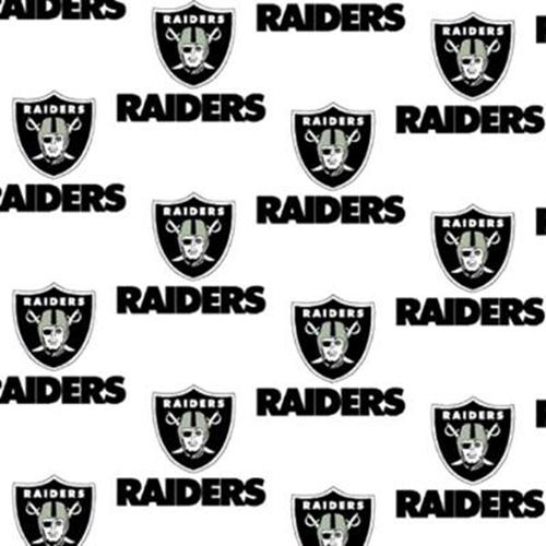 Nfl Football Oakland Raiders On White 18X29 Cotton Fabric