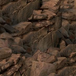 Running Wild Dark Brown Stone Rocks Rocky Mountian Cotton Fabric