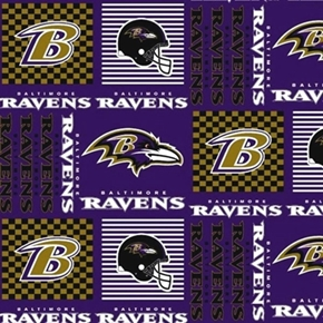 NFL Football Baltimore Ravens Squares 18x29 Cotton Fabric