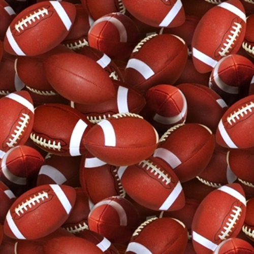 Sports Collection Footballs Allover On Brown Cotton Fabric