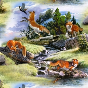 North American Wildlife Red Fox Foxes In The Wild Cotton Fabric