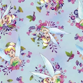 Disney Tinkerbell Tink Watercolor Pixie Fairy Cotton Fabric