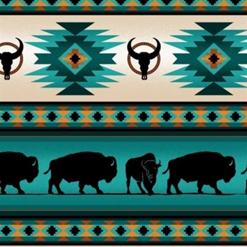 Tucson Southwest Aztec Indian Buffalo Stripe Turquoise Cotton Fabric