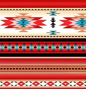 Tucson Southwest Indian Stripe Red Turquoise Cream Cotton Fabric