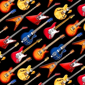 Picture of Jazz Music Electric Guitars Diagonal on Black Cotton Fabric