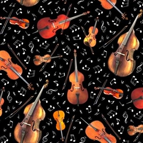 Jazz String Instruments Music Notes Violin Cello Viola Cotton Fabric