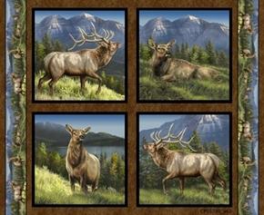 Wild Wings Elkmont Ridge Elk in the Mountains Cotton Pillow Panel Set