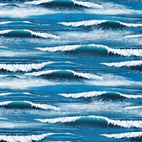 Landscape Medley Ocean Waves Blue Cotton Fabric