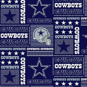 Nfl Football Dallas Cowboys Squares 18X29 Cotton Fabric