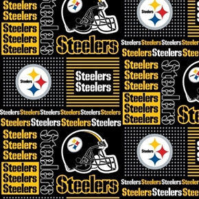 Nfl Football Pittsburgh Steelers Squares 18X29 Cotton Fabric
