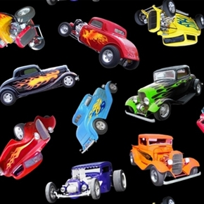 In Motion Vintage Hot Rod Cars Classic Muscle Car Cotton Fabric