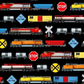 Picture of In Motion Railroad Trains and Signs in Rows Train Cotton Fabric