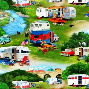 Vintage Trailers Camper Camping Scenes In Campground Cotton Fabric