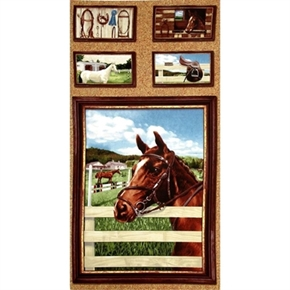 World Of Horses Horse Head By Fence 24X44 Large Cotton Fabric Panel