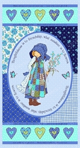 Picture of Holly Hobbie Blue Girl Friendship 24x44 Large Cotton Fabric Panel