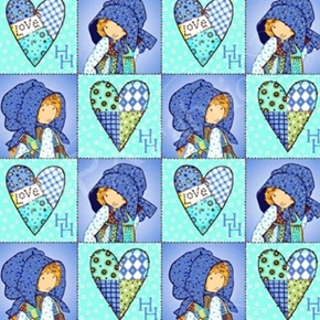 Holly Hobbie Blue Girl Hearts Patchwork Squares Blue Cotton Fabric