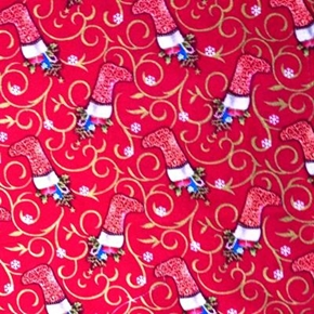 Christmas Stocking With Gold Glitter Scroll Cotton Fabric