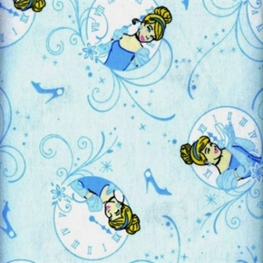 Flannel Disney Princess Cinderella Clock Blue Cotton Fabric