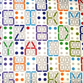 Colorful Braille Alphabet Letters On White Cotton Fabric