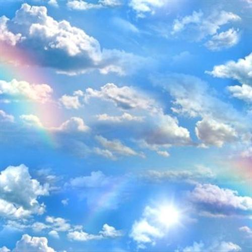 Landscape Medley Beautiful Blue Sky Clouds And Rainbows Cotton Fabric
