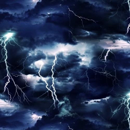 Landscape Medley Dark Stormy Black Sky with Lightning Cotton Fabric